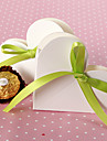 12 Piece/Set Favor Holder - Heart-shaped Card Paper Favor Boxes With Green Ribbon