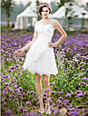 A-line/Princess Plus Sizes Wedding Dress - Ivory Knee-length Spaghetti Straps Lace/Taffeta