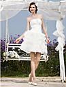 Lanting Bride® A-라인 / 공주 퍼티트 / 플러스 사이즈 웨딩 드레스 - 쉬크&모던 / 피로연 드레스 리틀 화이트 드레스 숏 / 미니 끈없는 스타일 오간자 / 태피터 와