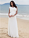 Lanting Bride® Sheath / Column Petite Plus Sizes Wedding Dress - Glamorous & Dramatic Floor-length Bateau Chiffon