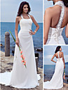 Sheath/Column Plus Sizes Wedding Dress - Ivory Court Train Halter Chiffon
