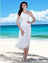Lanting Bride® Tube / kolonne Petit / Plus Størrelser Brudekjole - Chic og moderne / Receptionskjoler Te-længde Etskuldret Chiffon med