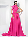 TS Couture® Formal Evening Dress - Elegant Plus Size / Petite A-line / Princess High Neck Court Train Chiffon withBow(s) / Sash / Ribbon / Side