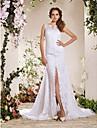 Lanting noiva A-Line / Princess petite / mais tamanhos de casamento vestido de-capela trem do laco v-neck