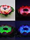 soldrivna färgskiftande flytande lotusblomma trädgård lampa pool natten
