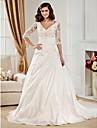 Lanting Bride Ball Gown Petite / Plus Sizes Wedding Dress-Chapel Train V-neck Taffeta