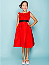 Knee-length Taffeta Junior Bridesmaid Dress - Ruby Ball Gown / Princess Jewel