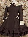 Camiseta de manga larga hasta la rodilla de algodon Brown Classic Lolita vestido