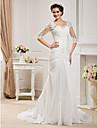 LAN TING BRIDE Sereia Vestido de casamento - Classico e atemporal Elegante e Luxuoso Inspiracao Vintage Cauda Capela Decote em U Tafeta
