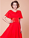 Wedding  Wraps Capelets Short Sleeve Chiffon Ruby Party/Evening