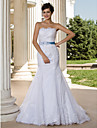 Lanting Trumpet/Mermaid Plus Sizes Wedding Dress - White Court Train Strapless Lace