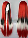 Perruques de lolita Punk Degrade de Couleur Long Rouge / Blanc / Noir Perruques de Lolita 80 CM Perruques de Cosplay Mosaique Perruque