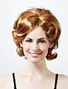 Capless medellång hög kvalitet syntetiskt naturen titt ljuset blondecurly hår peruk