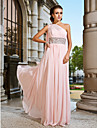 Prom / Formal Evening / Military Ball Dress - Vintage Inspired / Elegant Sheath / Column One Shoulder Floor-length Chiffon withBeading /