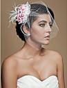 prachtige veren met roze bloemen tule huwelijk bruids hoofddeksel