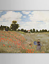handmålade oljemålning av Claude Monet med sträckt ram