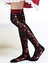 svart jordgubb och rosett mönster 40cm Sweet Lolita strumpor