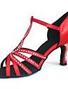 Skräddarsy T-Strap Satin Övre Latin / Ballroom Dance Skor med strass (Fler färger)