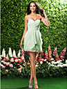 Lanting Bride Short / Mini Chiffon Bridesmaid Dress Sheath / Column Strapless / Sweetheart Plus Size / Petite with Draping / Criss Cross