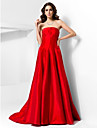 TS Couture Formal Evening Dress - Ruby Plus Sizes / Petite A-line / Princess Strapless Court Train Taffeta