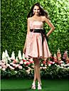 Organza A-Lijn/Prinses Strapless Bruidsmeisjesjurk -met Roze Parel Knie-Lengte Grote Maten
