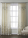Country Two Panels Floral  Botanical Beige Bedroom Linen Panel Curtains Drapes