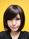 Capless Short Chestnut Brown Straight Synthetic Fiber Wigs Side Bang