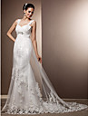 Sheath/Column Plus Sizes Wedding Dress - Ivory Court Train Straps Tulle