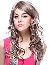 Capless 100% äkta hår långt vågigt grått hår peruker