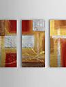 Handmålad abstrakt oljemålning på sträckt ram (set om tre, 1307-AB0408)
