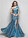 Formal Evening / Military Ball Dress - Pool Plus Sizes / Petite Trumpet/Mermaid One Shoulder Floor-length Sequined