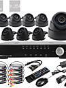 Ultra 8CH D1 Real Time H.264 High Definition CCTV DVR Kit (8pcs 600TVL Day Night Dome CMOS Cameras)