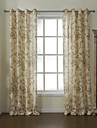 Two Panels  Country Summer Floral Energy Saving Lined Curtain