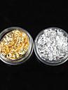 12PCS 2-färg Guld & Silver Leaf Nail Art Dekorationer