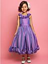 A-line Princess ceai lungime floare fată rochie - taffeta fără mâneci spaghete curele de lan ting bride®