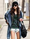 Women\'s Lapel Hoodie Asym Hem Denim Coat