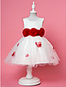 Flower Girl Dress - A-line/Mode de bal/Princesse Longueur cheville Sans manches Mousseline polyester/Dentelle/Satin/Tulle