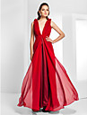 TS Couture® Formal Evening / Military Ball Dress - Open Back Plus Size / Petite Sheath / Column V-neck Floor-length Chiffon with Draping / Flower(s)
