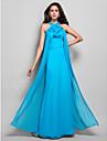 Vestido - Azul Tubo/Coluna Frente unica Longo Chiffon Tamanhos Grandes