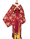 Rosa Chinensis Red Uniform Cloth Japanese Kimono Women\'s Costume