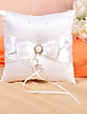 Ring Pillow In Ivory Satin With Bow And Faux Pearl