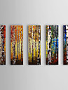Hand Painted Oil Painting Botanical Forest with Stretched Frame Set of 5 1309-FL0985
