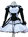 Long Sleeve Short Black and White Cotton Shiro & Kuro Lolita Kleid
