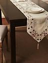 Beige Melange Lin/Coton Rectangulaire Chemins de table