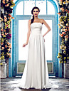 Sheath/Column Plus Sizes Wedding Dress - Ivory Sweep/Brush Train Straps Chiffon