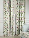 twopages® två paneler land blomma och blad miljövänliga gardiner draperier