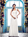 LAN TING BRIDE Sheath / Column Wedding Dress - Classic & Timeless Elegant & Luxurious Simply Sublime Floor-length One Shoulder Chiffon