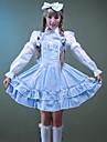 Une Piece/Robes Tenus de Servante Doux Lolita Cosplay Vetrements Lolita Rose Bleu Couleur Pleine Noeud papillon Manches Longues MoyenRobe