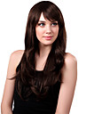 Capless Long sintetico Brown ondulado peruca de cabelo Side bang