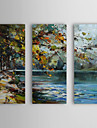 iarts®hand målad oljemålning landskap damm med sträckt ram uppsättning av 3 1310-fl1141